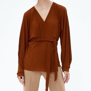 Zara wrap blouse crinkle ribbed